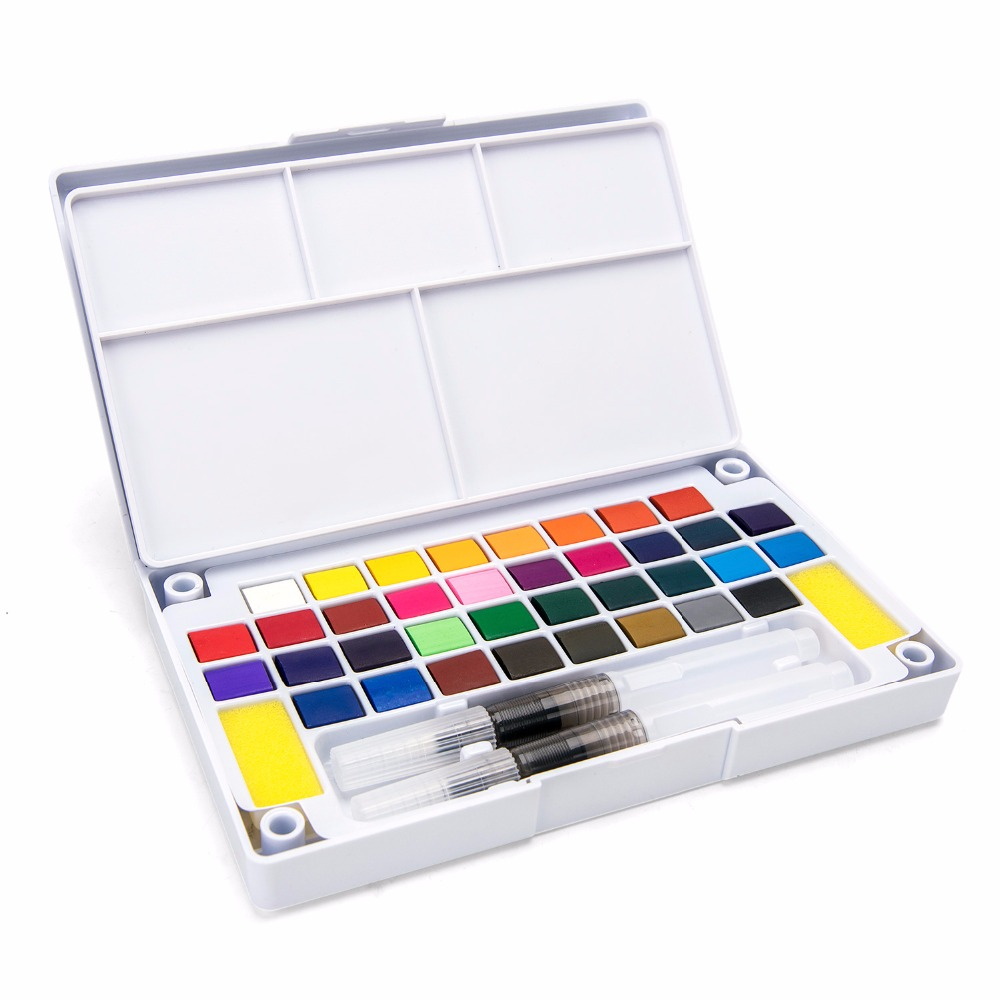 Bianyo 12/18/24/36Color Solid Watercolor Paint Box With Paintbrush Bright Color Portable Watercolor Pigment Set For Student free shipping holbein artists 15 color solid watercolor paint solid gold box professional level incidental paintbrush