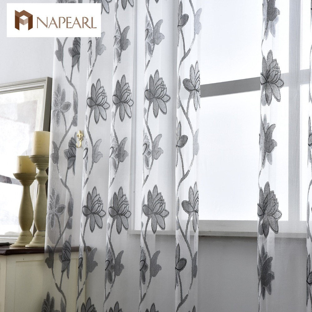 Flower Tulle Curtains Fashion Window Treatments White