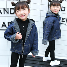 Children's clothing boy jacket 2018 spring and autumn new fashion girls Korean version of the lamb hair denim hooded jacket