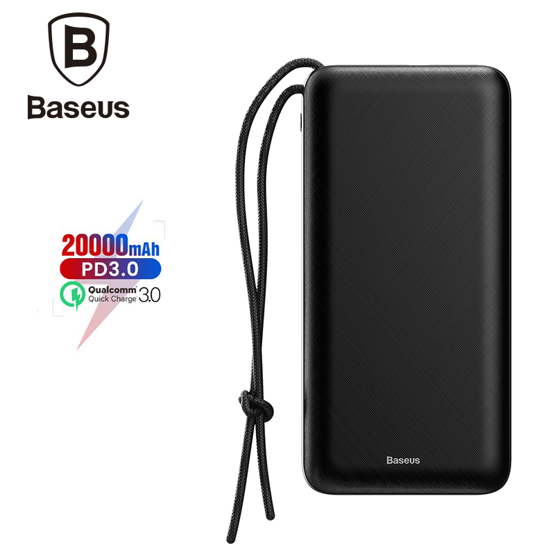 Baseus Portable Power bank 20000mah Fast Charger Mobile Phone Charger External Battery Powerbank For iPhone Xs Max Xr X 8 Plus