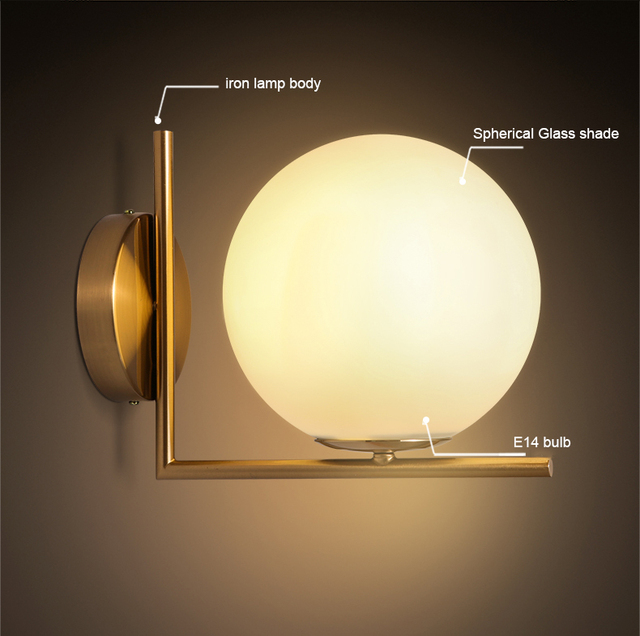 Simple and Beautiful LOFT Iron Wall Lamp Spherical Glass Shade. Art ...
