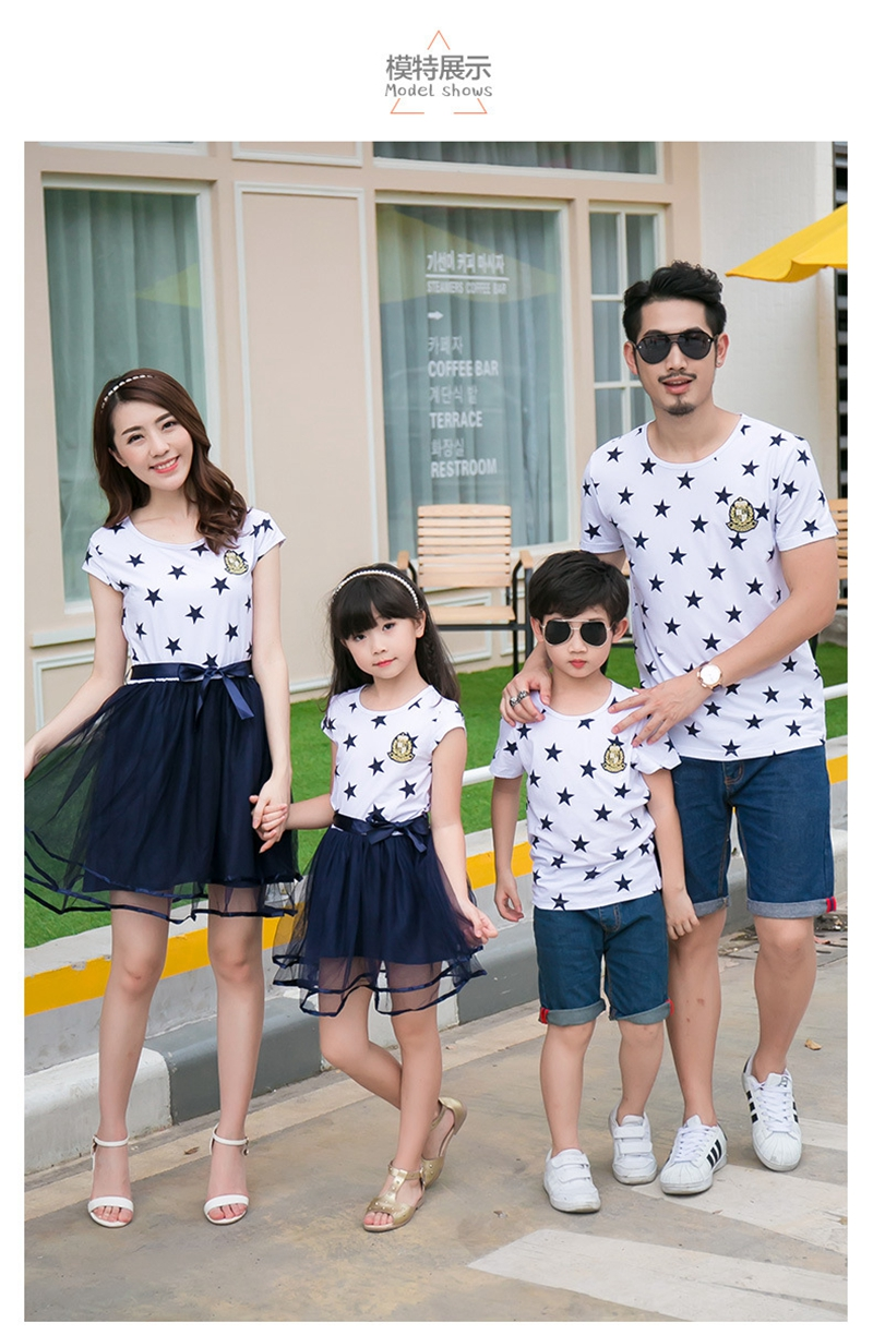 HTB1fCFBajnuK1RkSmFPq6AuzFXa8 - Summer Cotton Family Matching Outfits Mom And Daughter Mesh Dress Dad Son Blue White Stars Short T-shirt Children Clothing