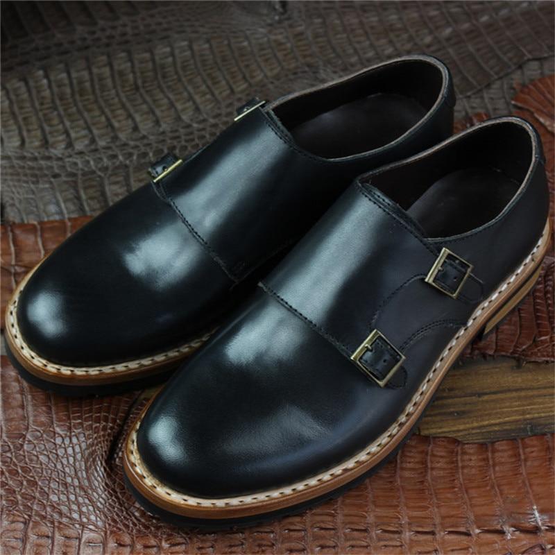 Sapatos Genuíno Made Em Maloneda Preto Alças Homens Custom Deslizamento Vestido Sapatas Como De Goodyear Com Monge Welted Seu Dos Pedido Couro Duplas A XZEEwq5xB