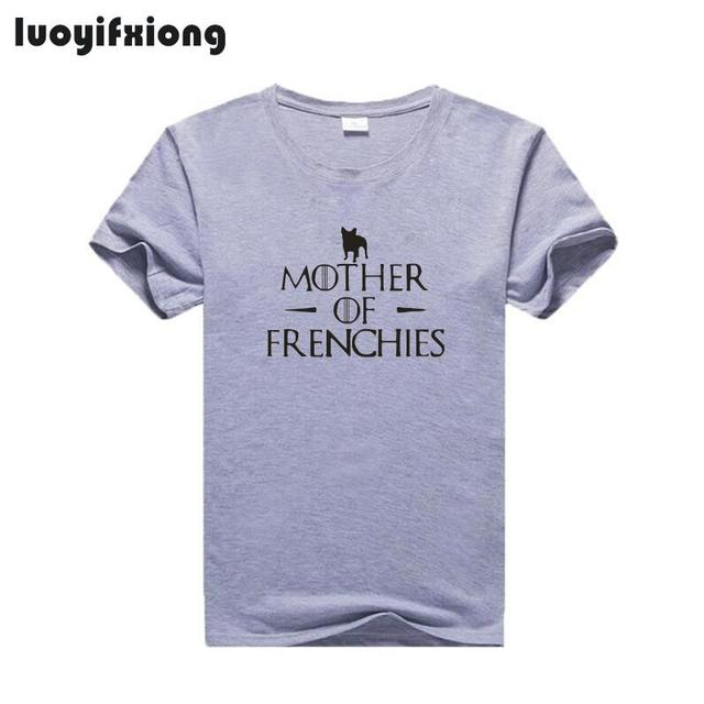 Luoyifxiong Mother of Frenchies Letter Print Tshirt Women Tops French Bulldog Tee Shirt Femme Short Sleeve Casual Funny T Shirts