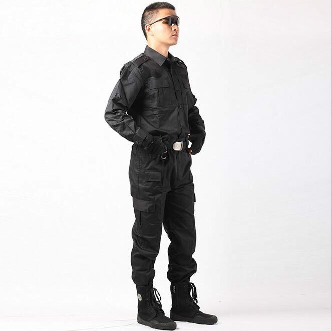 US $43 36 31% OFF|2018 Military Uniform Tactical Army Clothes Security  Clothing Security Guard Black Combat Uniforms CS Combat Jacket+Pants-in
