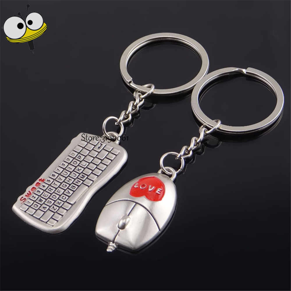 Car Styling Funny Keychain Keyboard Mouse Couple Key Ring Auto Key Holder  For Mustang Daihatsu Land Rover Mitsubishi Opel Nissan