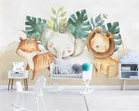 Niestandardowa tapeta beibehang nordyckie współczesne proste słodkie zwierzę słoń lew dziecięcy pokoju tło fototapeta 3d tapeta