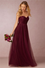 Long Bridesmaid Dresses for Cheap 2017 Sweetheart Wedding Party Formal Dress Burgundy A Line Pleats Tulle Junior Bridesmaid Gown