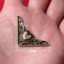 10 pcs Heart-shaped alloy corner patch Home decoration hardware antique Classic plane angle wooden box