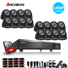 AHCVBIVN Home HD 16CH AHD 1080P DVR Kit CCTV Video System 8PCS 2.0MP Outdoor +8PCS Dome indoor Security Camera set 16 channel