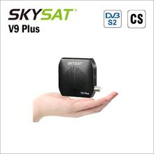 SKYSAT V9 Plus super mini DVB-S2 receptor soporte suave de la ayuda 2 xusb powervu Biss WiFi 3G Youtube USB PVR CS set Top Box(China)