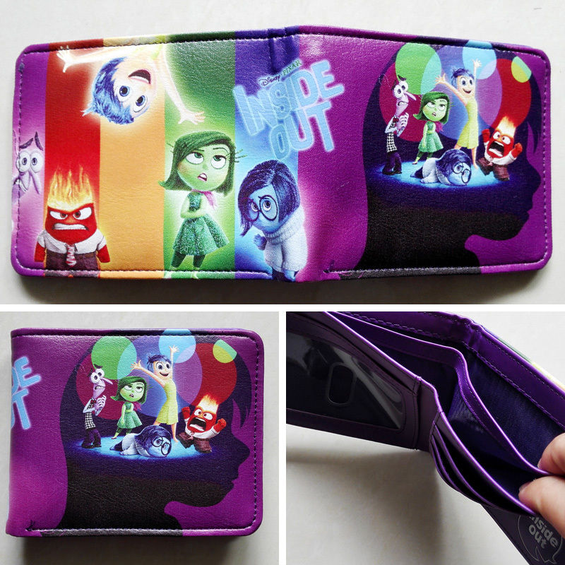 2018 Movie Inside Out Logo wallets Purse Multi-Color 12cm Leather Man women  New W173 6f14972dcfcd