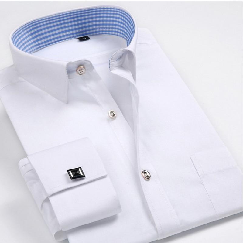 Camisa francesa de los hombres Gemelos 2019 Camisa de los hombres nuevos Camisas de manga larga de los hombres formales Slim Fit calidad Marca camisas puños franceses 4XL