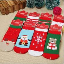 Xmas Baby Kids Unisex Socks Red Blue Cotton Winter Christmas Warm Stocking Socks Children Xmas Socks(China)
