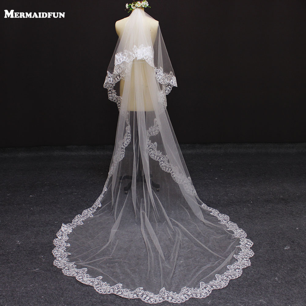 Real Photos 3 Meters 2 Layers Lace Edge Wedding Veil With Comb Beautiful 2 T Bridal Veil For Wedding