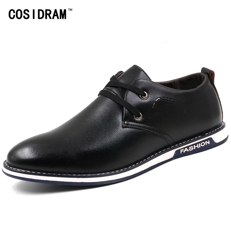 COSIDRAM British Style Men Shoes Spring Autumn Lace-Up Rubber Sole Men Casual Shoes PU Leather Male Footwear New Fashion RMC-067