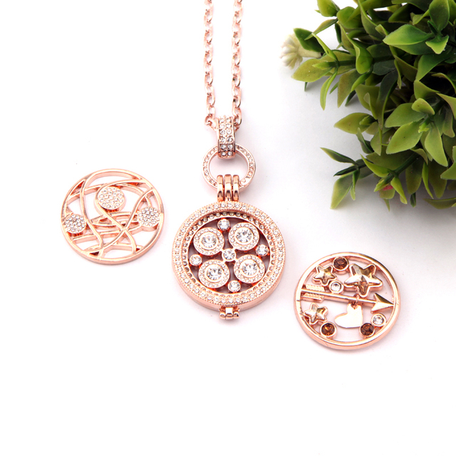 Interchangeable pendant necklace set 1 set symmetric crystal disc interchangeable pendant necklace set 1 set symmetric crystal disc coin pendant and 2 pcs extra silver aloadofball Image collections