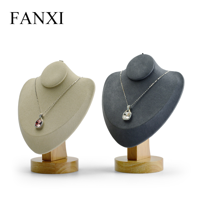 FANXI  New Wooden Necklace Display Stand with Microfiber insert Mannequin Model Pendant Holder Jewelry Expositor Shop Counter|Jewelry Packaging & Display|   - title=