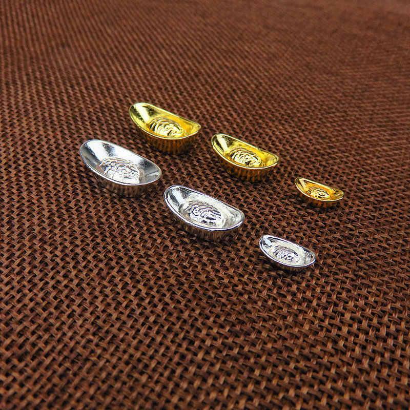 10 шт./компл. китайская золотая цепочка Серебристая орнамент Lucky Yuanbao Fengshui Декор талисман металлические поделки фэн-шуй сопутствующий удаче ремесла