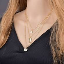 Gold Chain Sea Shell Pendant Necklace for Women Seashell Charm Layered Necklace Crystal Letter Necklace Chokers Jewelry 2019