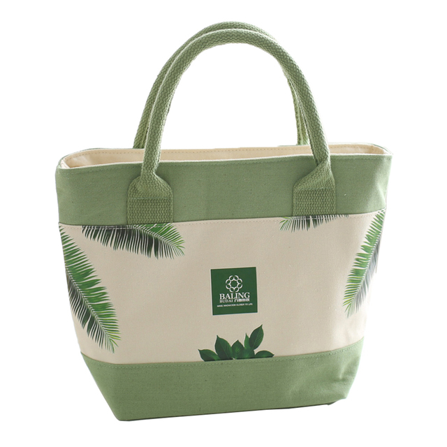 Aluminum Foil Thick Canvas Heat Preservation Insulated Bag Fresh And Green Leaves Printed Picnic Bag