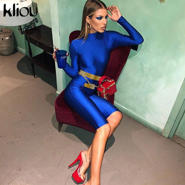 Kliou Women Fashion Royal Blue Full Sleeve Turtleneck Playsuits 2018 Autumn Female Skinny Sexy Workout Street Rompers Jumpsuits
