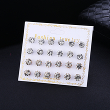 Bohopan 12Pairs/Set White Crystal Stud Earrings Set 7mm Fashion Simple For Women Bride Wedding Party Geometric