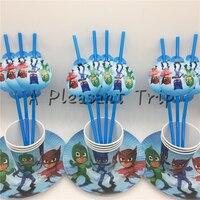 30pcs Lot Mask Man Cartoon Baby Shower Decoration Birthday Party Straws PJ Theme Paper Cups Kids