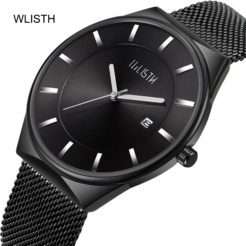 Wlisth Ultra thin Lover's Watches Stainless Steel Mesh Band Watch Mens Top Brand Luxury Casual Women Quartz Wrist Watch Couple