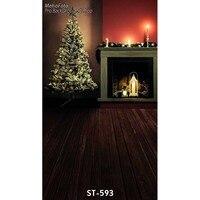 10ft casa fotografia cenários de vinil piso de madeira de impressão 3D da árvore de Natal para crianças & family photo studio fundos retrato ST-593