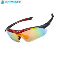Deroace men polarized sunglasses sports glasses road cycling mountain bike bicycle riding eyewear goggles 5 lens