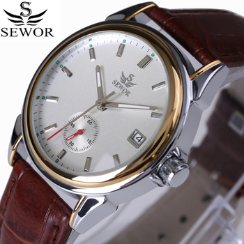 цена на SEWOR Top Brand Fashion Design 4 Hands luxury Men Watches Leather Strap Stainless Steel Bezel Automatic Mechanical Watch 2017