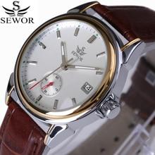 SEWOR montre mécanique automatique, 4 mains, Design de luxe, bracelet en cuir et acier inoxydable, modèle à la mode, 2017