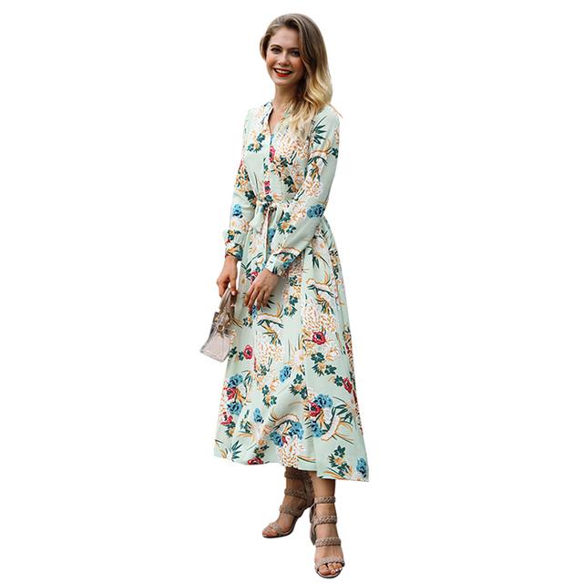 Floral V-neck Holiday Beach Dress