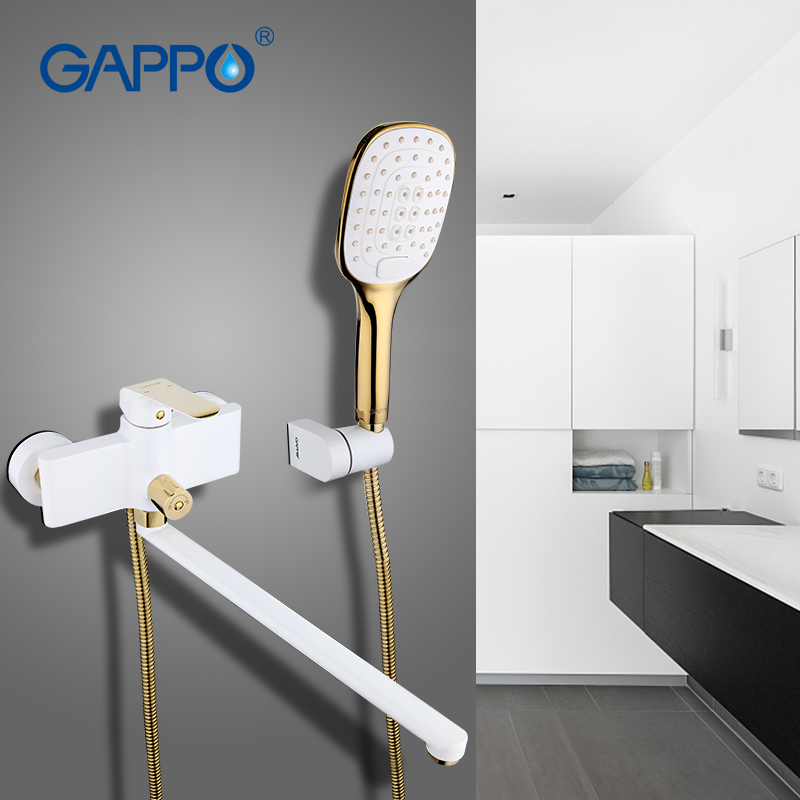 GAPPO 1 set Wall Mounted Antique Brass Gold Plated Bathtub Faucet Mixer Restroom Sink Shower Faucets Tap Grifo in Hand shower gappo bathroom faucet accessories faucet brass body bathtub sink mixer cold hot water restroom faucet in hand shower ga3007 5