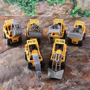 Image 5 - 6 adet/grup Mini araba oyuncak Diecast araç setleri inşaat buldozer ekskavatör mühendislik araç kiti çocuklar Mini mühendislik araba