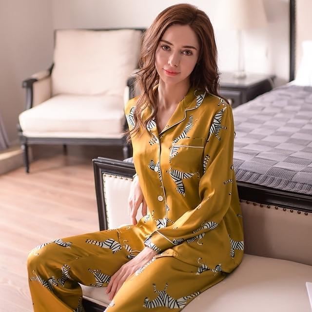 ファッション本物のシルクの女性のパジャマゼブラプリント長袖パジャマ長ズボンセット 100% カイコシルクパジャマ女性 t8143