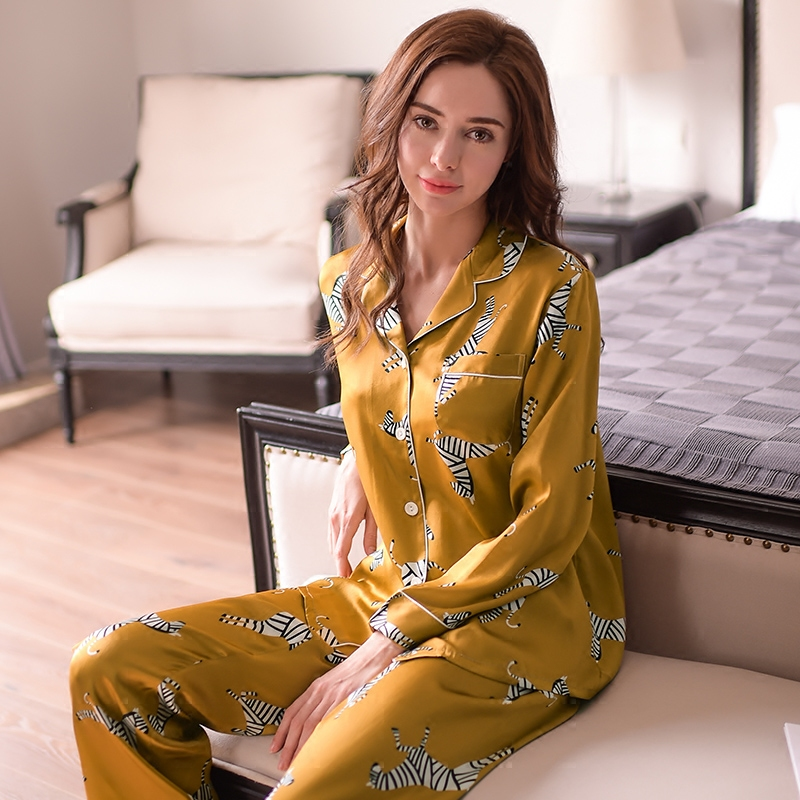 Fashion Genuine Silk Women's Pajamas Zebra Printed Long Sleeve Pyjama Long Pants Sets 100% Silkworm Silk Sleepwear Female T8143-in Pajama Sets from Underwear & Sleepwears