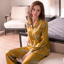 Moda de seda genuína pijamas femininos zebra impresso manga longa pijamas calças compridas define 100% silkworm seda sleepwear feminino t8143