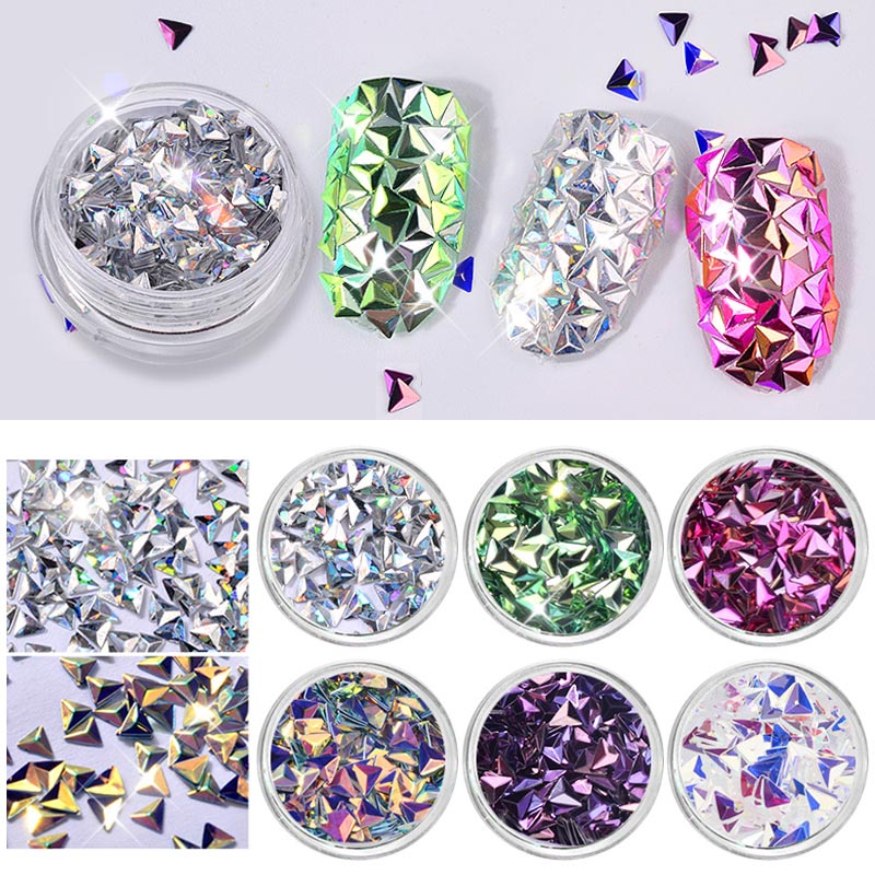 6 Box/Set 3D Mermaid Diamond Nail Glitter Flakes Sequins Tips Manicure Accessories Nail Art Decoration Tool 5 colors fish scale nail art sequins mermaid hexagon glitter rhinestones for nails for diy manicure nail art tips decorations