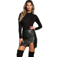 Фотография Spring  Autumn Women Pencil Skirt Ladies Leather Skirt Plus Size Bandage Skirts Female Sexy Black Empire Skirts Fashion Girls