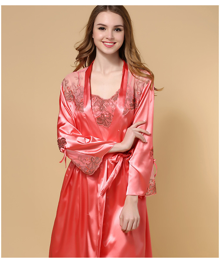 f8150b5f01e6 Online Shop Cheap 2015 Summer Style Red Long Sleeve Silk Stain Nightgown  Robe Set Sexy Cool Noble Nightdress Sleepwear for Women