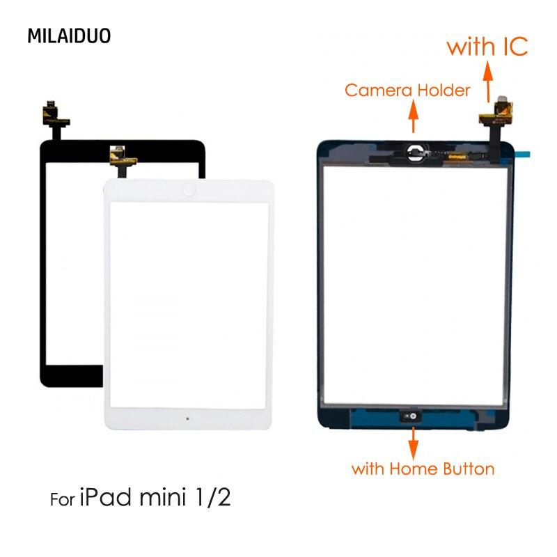 Orig/OEM Für iPad Mini 1 Mini 2 LCD Outer Touch Screen Digitizer Sensor Mit IC Chip Stecker + home Button + Kamera Halter