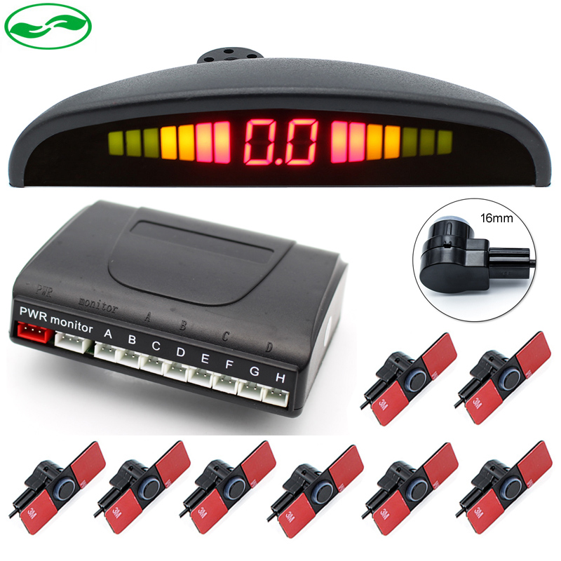 8 sensori di 16mm Piatto Originale Sensori di Auto Sensore di Parcheggio del LED di Allarme Vocale Sistema di Parcheggio Radar di Retromarcia 6 di Colore