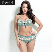 faerdasi Large size Bikinis Swimwear Women Low waist Bikini Push up Cup Printed Swimsuit Summer Brazilian Bikini maillot de bain