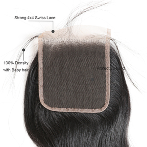 "Image 3 - Ali Queen Hair Water WAVEบราซิลVirgin Hair 10 ""ถึง 20"" 100% ผมมนุษย์ 4x4 ฟรีส่วนสวิสปิดลูกไม้ด้วยผมเด็ก"