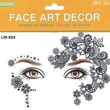 2 шт./партия наклейка для глаз Хэллоуин хна, временная татуировка Мода цветок бабочка сторонний стикер Макияж тело искусство 8 моделей