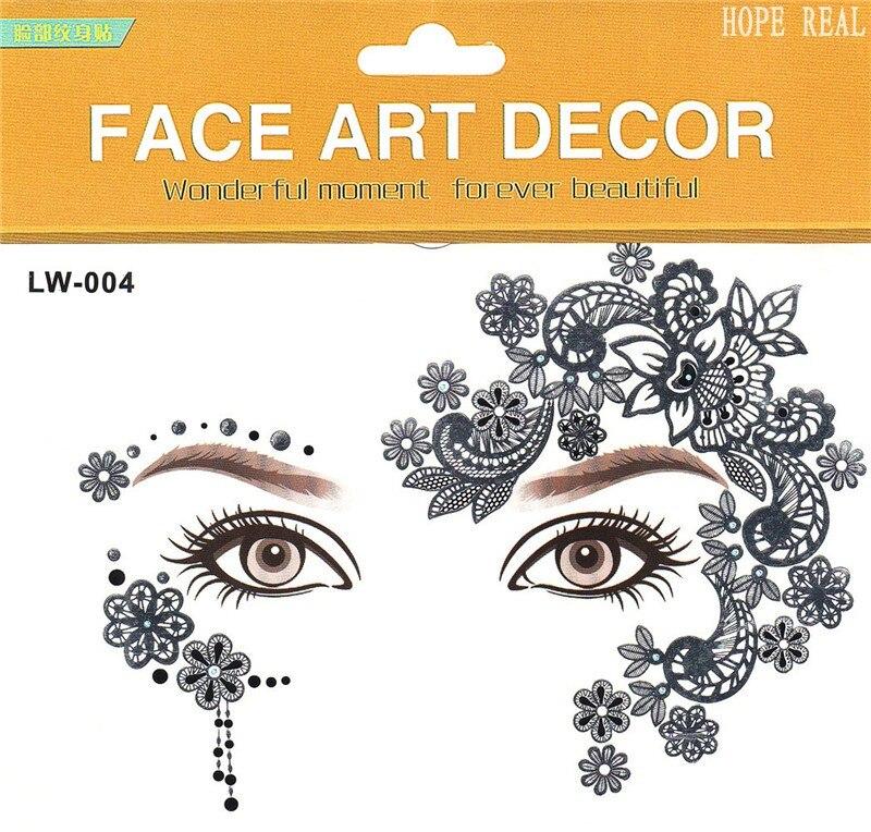 2pcs / lot 눈 스티커 할로윈 헤나 임시 문신 패션 꽃 나비 얼굴 스티커 메이크업 바디 아트 8 모델