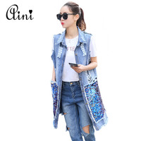 2017 New Fashion Spring Summer Women Sequined Long Sleeveless Denim Vest Women Hole Denim Vest Jeans