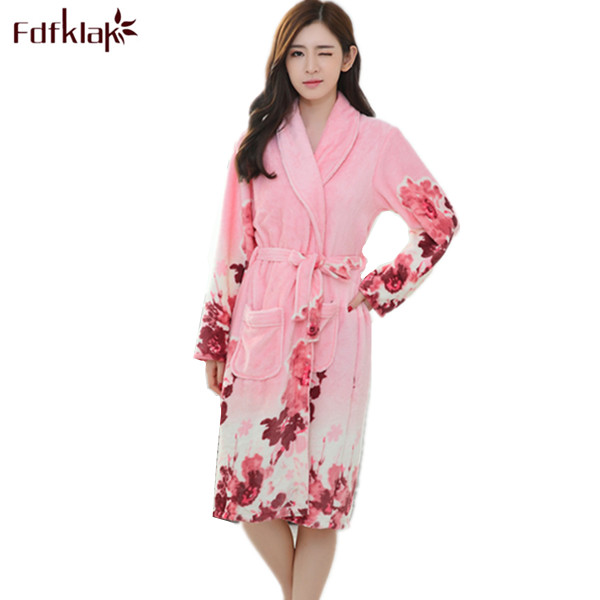 on sale online 2019 hot sale new collection Fdfklak Autumn Winter Flannel Long Sleeve Print Women's Bathrobe Dressing  Gown Long Mei Red/Yellow Blue Ladies' Bathrobes Q417